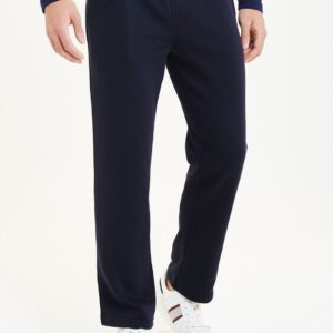 Men Basic Straight Fit Joggers Navy Blue
