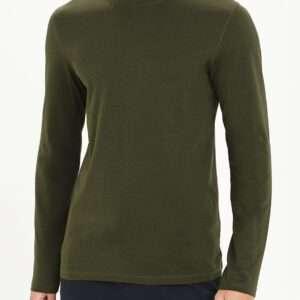 Men Basic Full Sleeve Crew Neck Cotton T-Shirt Khaki