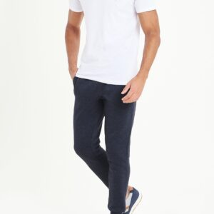 Slim Fit Navy Marl Cuffed Joggers For Men