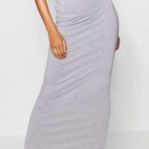 Basic Contrast Waist Jersey Maxi Skirt Grey For Women