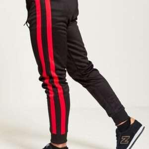 Men Red Double Stripe Jogging Bottom Black Colour