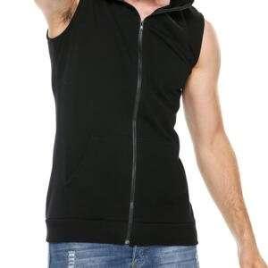 Men's Black Colour Sleeve Less Zipper Hoodie