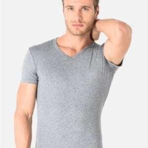 Grey Colour Basics V Neck T-Shirt For Men's