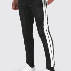 Black & White Tall Slim Fit Man Tricot Jogger With Tape
