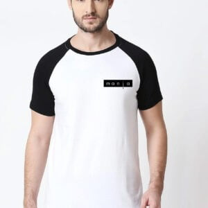 Manja Printed Raglan T-Shirt For Men's Black & White Colour