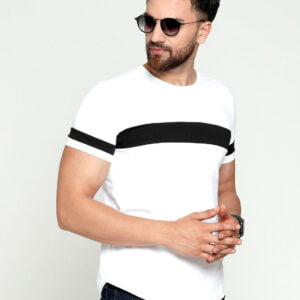 Men T-Shirt White Colour & Black Striped