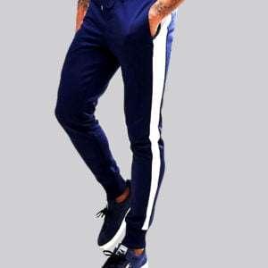 Men Jogger Navy Blue Color With Side Panels White Colour