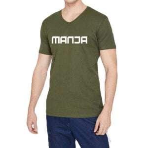 Khaki Colour Basic V Neck T-Shirt For Men
