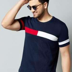 Men T Shirt Navy Blue Red White 01