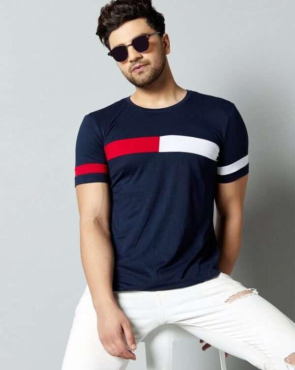 Men T Shirt Navy Blue Red White 03