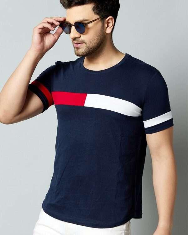 Men T Shirt Navy Blue Red White 04