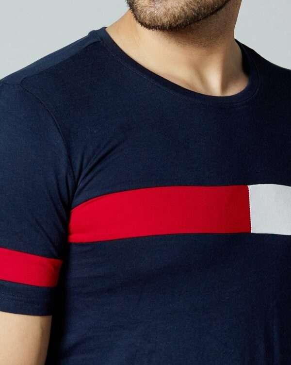 Men T Shirt Navy Blue Red White 05