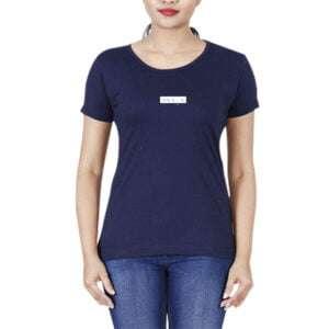 100 % Cotton Short Sleeve Round Neck Women T-shirt Navy