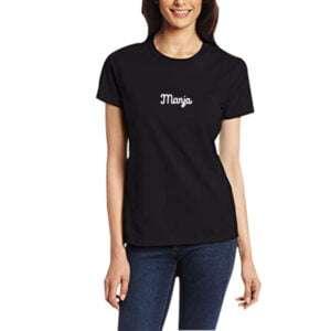Half Sleeve Print Round Neck T-shirt in Black