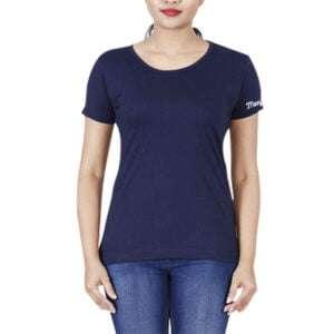Women Short Sleeve Printed Round Neck T-shirt Navy