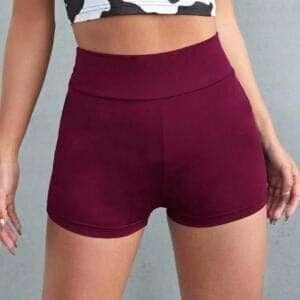 Women High Waist Stretch Maroon Cotton Shorts