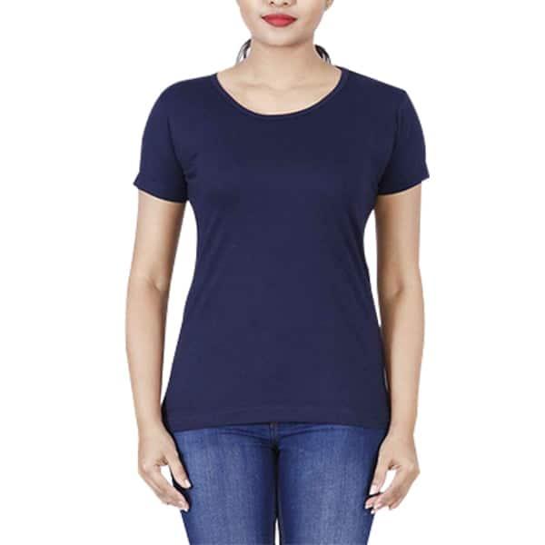 Navy Design Manja Basic T-shirts For Girls