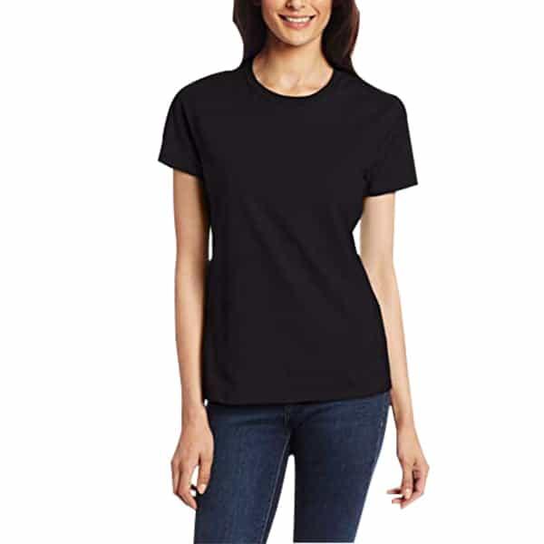 Short Sleeve Round Neck Black Colour Girls T-shirts