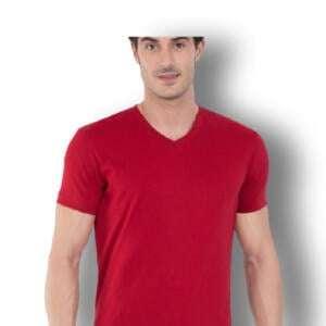 Best Price V-neck Red T-shirt For Men's