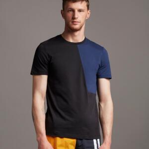 Black and Navy Colour Blocking Men T-shirt