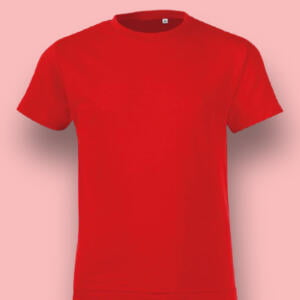 Red Colour Basic Short Sleeve Cotton T-shirt For Baby