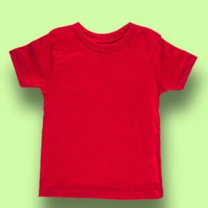 Red Round Half Sleeve T-shirt For Baby