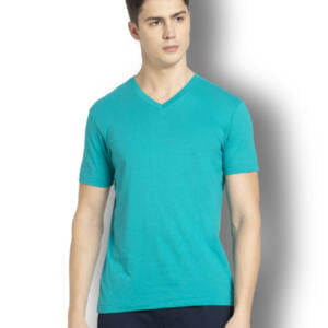 Sky Light Sea Green Men's V neck T-shirt
