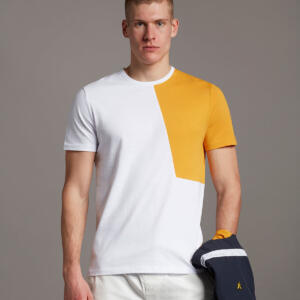 White and Yellow Colour Blocking Men T-shirt