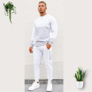 Grey and Off White Plain Tracksuits For Boys