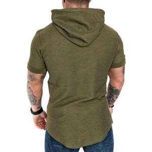 Khaki Color Short Sleeve Hoodie For Men