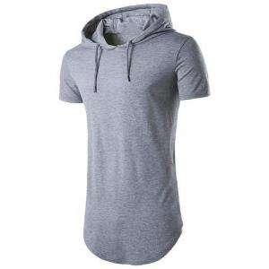 Short Sleeve Grey Colour Fleece Hoodie For Men